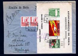 1937 - Lokalpost Block Auf Einschreibbrief Ab NERJA Nach Malaga - 1931-50 Lettres
