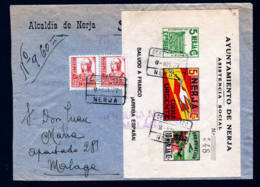 1937 - Lokalpost Block Auf Einschreibbrief Ab NERJA Nach Malaga - 1931-Oggi: 2. Rep. - ... Juan Carlos I