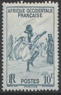 AOF French West Africa 1947, Sc 36, 10cts, Blue - Rifle Dance, Mauritania - MVLH - Unused Stamps