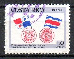 COSTA RICA. N°540 De 1991 Oblitéré. Armoiries Du Costa-Rica Et Du Panama. - Timbres