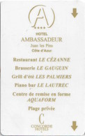 Ambassadeur Paris -2159-----Hotel--key Card, Room Key, Schlusselkarte, Hotelkart - Cartas De Hotels
