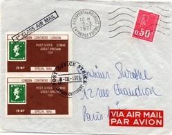 Strike 1971 - London-Continent Special Mail - Aéroport Bourget Paris - 1st Class Air Mail - Marcophilie