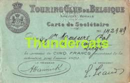 TOURING CLUB DE BELGIQUE CARTE DE SOCIETAIRE 1920 - Documents Historiques