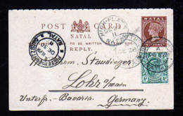 1911 - 1/2 P. ANTWORT Ganzsache Mit 1/2 P. Zufrankiert Ab HIGH FLATS Nach Lohr - Natal (1857-1909)