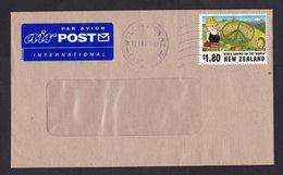 New Zealand: Airmail Cover, 1997, 1 Stamp, Kiwi Cartoon, Peace Logo, Chain Saw, Air Label (minor Creases) - Brieven En Documenten
