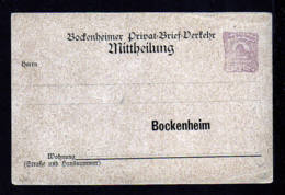 """BOCKENHEIM - 2 Pf. Bienenkorb Ganzsache Mit Fehldruck """"Hausuummer"""" Statt """"Hausnummer"""" - Ungebraucht - Poste Privée"""