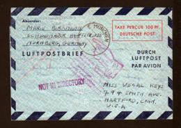 100 Pf. Luftpost Ganzsache (LF 1II) Gebraucht 1948 Ab München Nach USA - Zurückstempel - Non Classés