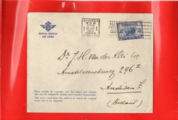 ##(DAN197)-Postal History-Australia 1934-Royal Dutch Air Lines Cover From Sydney To Holland Franked 3d. Macarthur - 1913-36 George V : Other Issues