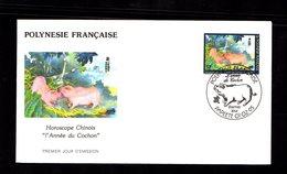 POLYNESIE FRANçAISE 1995   Année Du Cochon Horoscope Chinois Sur Enveloppe FDC  SUPERBE - Lettres & Documents