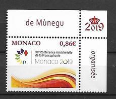 Monaco 2019 -  Yv N° 3190 ** - La Conférence Ministérielle De La Francophonie - Neufs