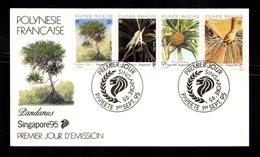 POLYNESIE FRANçAISE 1995   Bande 4 Valeurs SINGAPORE 95 Fruits Fleurs Sur Enveloppe FDC  SUPERBE - Lettres & Documents
