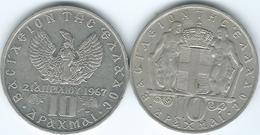 Greece - Constantine II - 10 Drachmai - 1968 (KM96) & 1971 - Year Of The Colonels (KM101) - Grèce