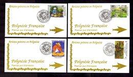 POLYNESIE FRANçAISE 1995   Peintres De Polynésie Sur 4 Enveloppes FDC  SUPERBE - Lettres & Documents
