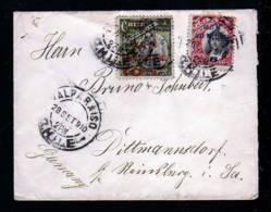 1910 - 2 Überdruck Marken Auf Brief Ab Valparaiso Nach Deutschland - Chili