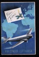 """1938 - Flugkarte """"Condor-Lufthansa"""" - Gebraucht Nach Linz - Brésil"""