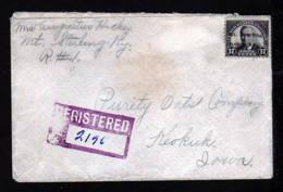 1927 - 17 C. Mit VE Mount Sterling - Einschreibbrief Nach Keokuk - Etats-Unis