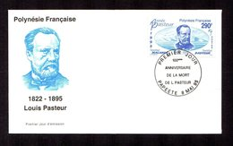 POLYNESIE FRANçAISE 1995   LOUIS PASTEUR  Sur Enveloppe FDC  SUPERBE - Lettres & Documents