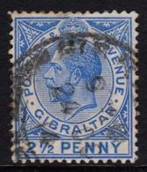Gibraltar 1912 2 1/2d Deep Bright Blue Used  SG 79 - Gibraltar
