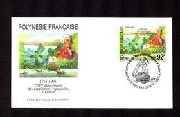 POLYNESIE FRANçAISE 1995   Expéditions Espagnoles à Tautira   Sur Enveloppe FDC  SUPERBE - Lettres & Documents