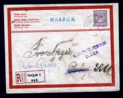1915 - 35 F. Ganzsache Als Einschreiben Ab OSIJEK Nach Dobce - Zensur - Lettres & Documents