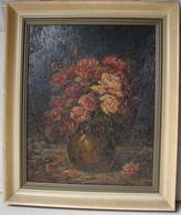 PDGL. 21. Peinture Sur Panneau D'un Peintre Allemand  Heinrich BADER. Bouquet De Fleurs - Olieverf