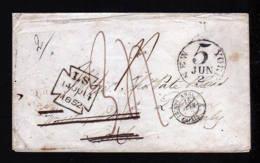 1852 - Brief Ab NEW YORK Nach Italien - Diverse Transitstempel - Etats-Unis