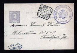 1897 - 2 R. Ganzsache Ab Lisboa Nach Frankfurt - 1892-1898 : D.Carlos I