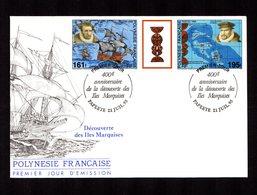 POLYNESIE FRANçAISE 1995   Anniversaire Découverte Des Marquises  Tryptique Sur Enveloppe FDC  SUPERBE - Lettres & Documents