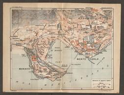 CARTE PLAN 1927 - MONACO MONTE CARLO LA CONDAMINE CASINO BEAU SOLEIL LE CARNIER RADE PORT PALAIS - Cartes Topographiques