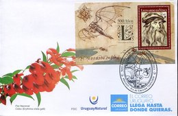 45368  Uruguay, Fdc 2019 Painting Of Leonardo Da Vinci, S/sheet Portrait Of The Painter - Arte