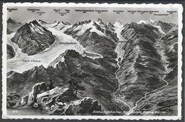 Schweiz Suisse 1955: Aletschgletscher, Eggishorn, Furka Route (Glacier Panorama) Mit O BELVEDERE-FURKASTRASSE 26.VIII.56 - VS Valais