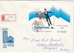 1980 LAKE PLACID - Ungarn - MiNr: 3396 Block 140A Auf Rekobeleg - Winter 1980: Lake Placid