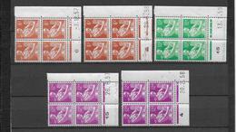 MOISSONNEUSE - 1957/1959 - YVERT N°1115/1116 - 5 BLOCS De 4 COIN DATE DIFFERENTS ** MNH - - 1950-1959