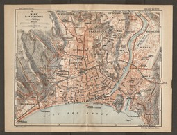 CARTE PLAN 1927 - NICE PLAN D'ENSEMBLE PHARE BAUMETTES CIMIEZ RIQUIER CARABACEL LE PIOL - Cartes Topographiques