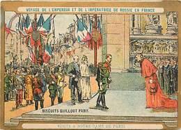 - Chromos -ref-chA573- Biscuits Guillout -visite Empereur De Russie à Paris -verso Programme Musique Garde Républicaine - Other