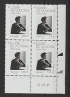 France Coins Datés 2019 Louise De Vilmorin ** MNH - Esquina Con Fecha