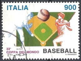 Italia, 1998 Mondiali Di Baseball, 900L # Sassone 2364 - Michel 2584 - Scott 2251  USATO - 6. 1946-.. Republik