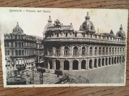 Cpa, Genova, Palazzo Dell Banca, Tramways, Animée,écrite - Genova