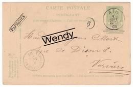 Papignies - Verso Voorgedrukt Leopold I En II 1830-1905 - Cachet Ath - Marcophilie