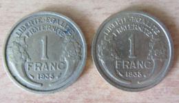 France - 2 Monnaies 1 Franc Morlon 1935 Et 1938 - TTB Et SUP - France