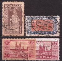 España - Fx. 3507 - Yv. 594/6 + 595a - Año Santo Compostelano - 1937 - Ø - 1931-Today: 2nd Rep - ... Juan Carlos I