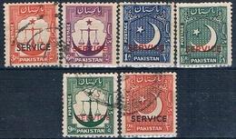 Pakistan 1948 / 53  -  Michel  15 + 16 + 28 + 29 + 38 + 41  ( SERVICIO )  ( Usados ) - Pakistán