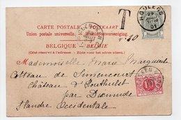 - Carte Postale ROULERS Pour Château D'HOUTHULST Via CLERCKEN 29.7.1901 - TAXÉE 10 C. - A ETUDIER - - Impuestos