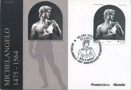 ITALIA - FDC MAXIMUM CARD 2014 - IL DAVID DI MICHELANGELO - ARTE - ANNULLO SPECIALE MILANO - Cartes-Maximum (CM)
