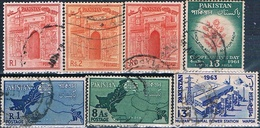 Pakistan 1960 / 63  -  Michel  110 + 111 + 148 + 150 + 156 + 201 + 202  ( Usados ) - Pakistán