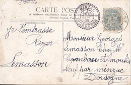 BAC19- CPA  DORDOGNE  VILLAGE MINZAC  CACHET ROND POINTILLE  TRES BEL ETAT  21/09/1905 - Postmark Collection (Covers)