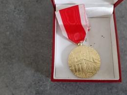 Médaille En Argent Doré Or Poinçonné Sur La Tranche Une Corne - Société Industrielle De Rouen - Professionals / Firms