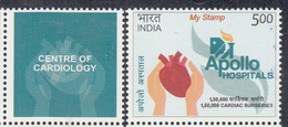 INDIA 2019 MY STAMP APOLLO HOSPITALS,  2nd Issue, Centre Of Cardiology, Health, 1v With Seperated  Tab,, MNH(**) - Inde