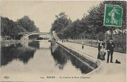 51, Marne, REIMS, Le Canal Et Le Pont D'Epernay, Scan Recto Verso - Reims