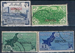 Pakistan 1961  -  Michel  51 + 64 + 67 + 68  ( SERVICIO )  ( Usados ) - Pakistán